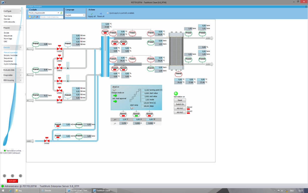 View of a Test Run Execution in TestWork Automation Software